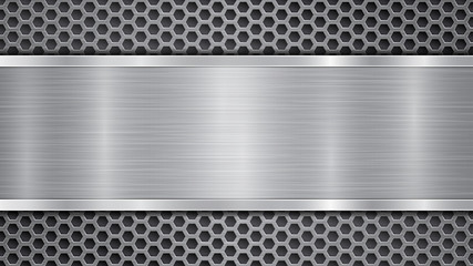 Photo sur Aluminium Metal Background in gray colors, consisting of a metallic perforated surface with holes and a polished plate with metal texture, glares and shiny edges