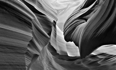 Black and white creative photography of Antelope canyon in Arizona, USA. Abstract photo, art, tourist destiny, erosion,