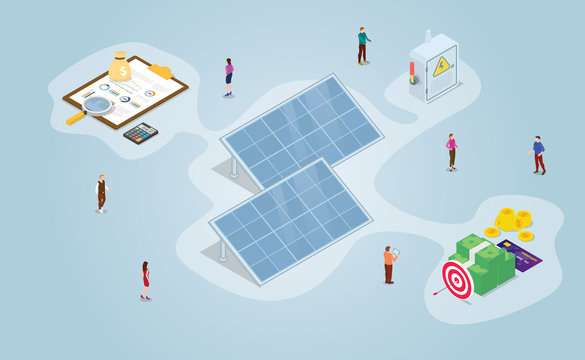 solar panel technology from business aspect and perspective with efficiency benefit with people and modern isometric style - vector
