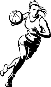 "Women""s Basketball Abstract Line Art"