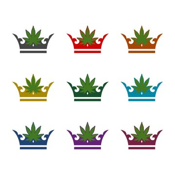 Marijuana Crown color icon set isolated on white background
