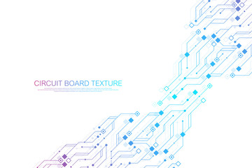 Technology abstract circuit board texture background. High-tech futuristic circuit board banner wallpaper. Digital data. Engineering electronic motherboard. Minimal array Big Data Vector illustration