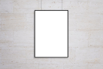 Hanging poster frame mockup. Blank, white isolated surface for ad design presentation