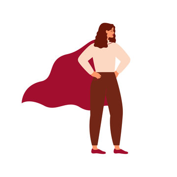 Strong superhero woman wearing cape. Feminism concept, girl power. Inspirational and motivational female character.Vector illustration in flat cartoon style.