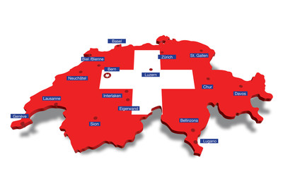 swiss map with cities
