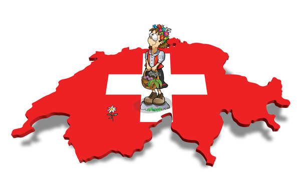 swiss map with heidi and edelweiss
