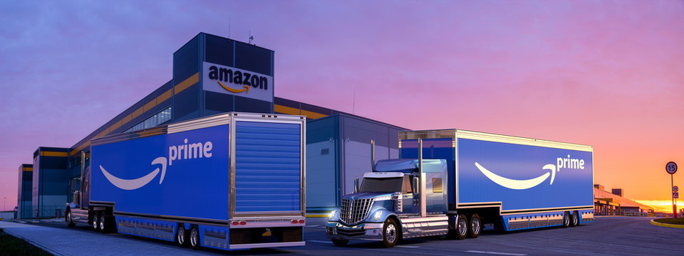trucks with a semi-trailer with the Amazon Prime logo at the Amazon logistics center.Szczecin.Poland-October 2019