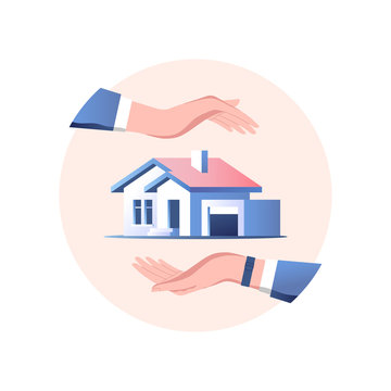 House insurance concept. Safety and security service. Vector illustration.