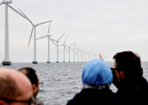 Middelgrunden offshore wind farm is pictured, outside Copenhagen