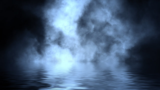 Amazing dry ice blue smoke with reflection in water. Texture overlays. Design element.