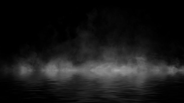 Mystery coastal fog . Smoke on the shore . Reflection in water. Texture overlays background. Stock illustration. Design element.
