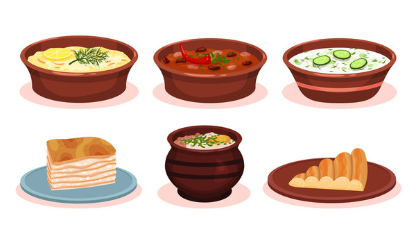 Bulgarian Cuisine National Food Dishes Collection, Vegetables and Meat Stewed in Pot, Banitsa Pie, Okroshka Vector Illustration