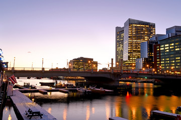 Poster - Night view of winter Boston. View of the river bay, bridges and night buildings. USA. Boston. Massachusetts.