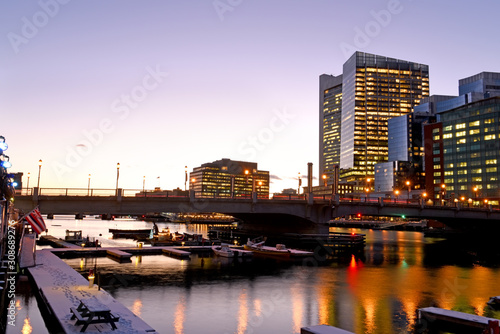 Fotobehang Night view of winter Boston. View of the river bay, bridges and night buildings. USA. Boston. Massachusetts.