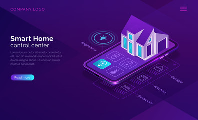 Smart home isometric, internet of things concept vector illustration. Control center for surveillance, home monitoring, mobile phone screen with house building icon purple banner, ultraviolet website