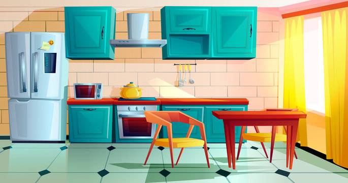Kitchen interior witn furniture cartoon vector illustration. Home cooking room with wooden dining table, blue kitchen cabinets, fridge with magnet and reminder, oven, microwave, hob and extractor hood
