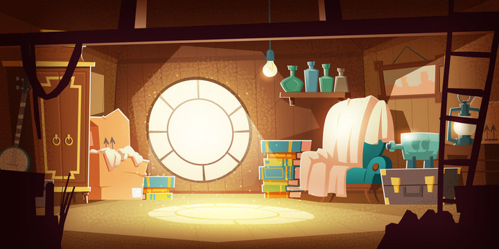 House attic with old furniture, dust flying in air, cartoon vector background. Attic interior in wooden house with round window under roof, day sunlight on floor, wardrobe, chair and storage boxes
