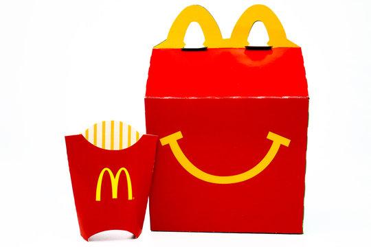 McDonald's Happy Meal cardboard box. McDonald's is a fast food restaurant chain