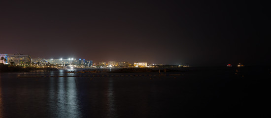 Fig Tree Beach in Protaras at night. One of the popular beaches in Europe.