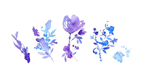 Watercolor abstract floral set. Collection of flowers, leaves berries in blue, violet, purple colors. Hand painted illustration isolated on white for wedding design, cards, banners. Wall mural