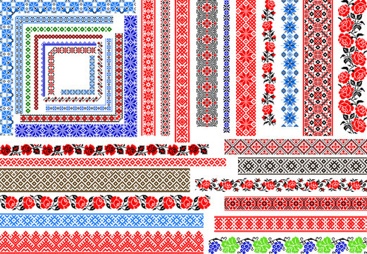 Set of editable traditional seamless ethnic patterns for embroidery stitch. Vintage floral and geometric ornaments.