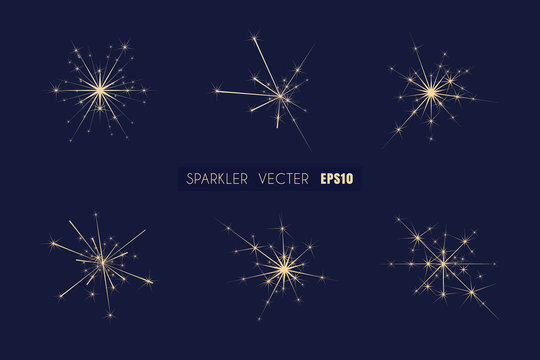 Sparkler elements vector for decoration