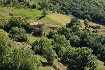 Stone huts in Picos de Europa at the trail Puertos de Aliva in Cantabria,Spain,Europe