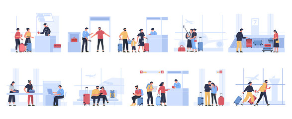 Tourists in airport. People waiting for plane in terminal, tourist characters receive passport control, pass luggage inspection or get luggage vector illustration set. Passengers before departure