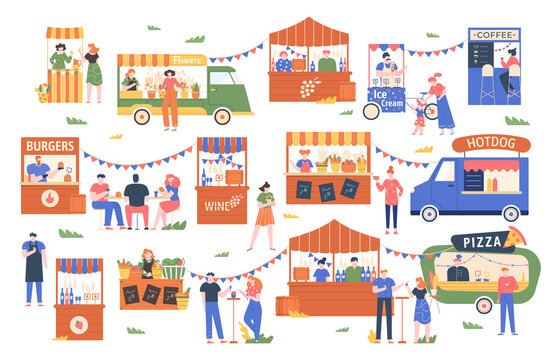 Street food marketplace. Outdoor farmers market, characters buy and sell vegetables, bread, flowers and other products, street shopping trade vector illustration. Local kiosks, food trucks and booths