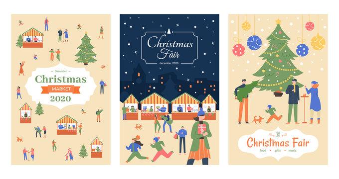 Holiday market flyer. Christmas fair posters, december market holiday invitation, shopping street Christmas decorated outdoor stalls vector illustration poster set. Xmas festival booklet