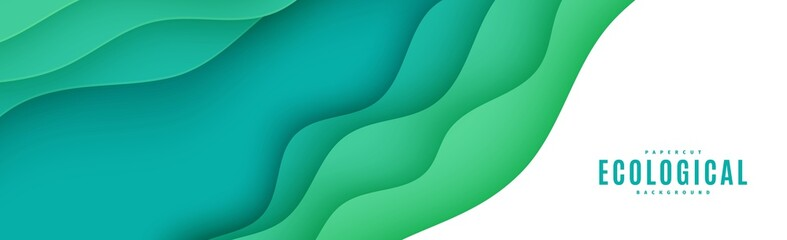 Abstract green horizontal banner in cut paper style. Cutout grass wave template for save the Earth flyer, ecology brochures, presentations, invitations with place for text .Vector card illustration