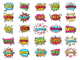 Comic speech bubble. Cartoon comic book text clouds. Comic pop art book pow, oops, wow, boom exclamation signs vector comics words set. Creative retro balloons with funny slang phrases and expressions