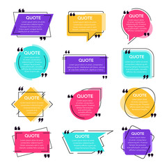 Texting quotes frames. Text box template, quote modern citation speech bubble and social network quotes dialogue boxes. Remark text frames template vector isolated icons set. Quotations backgrounds