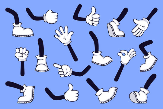 Cartoon legs and hands. Comic character gloved arm and feet in boots, retro doodle arms with different gestures, running and walking legs vector isolated illustration set. High five, footsteps