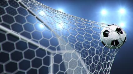 Fototapeta Soccer ball flew into the goal. Soccer ball bends the net, against the background of flashes of light. Soccer ball in goal net on blue background. A moment of delight. 3D illustration obraz