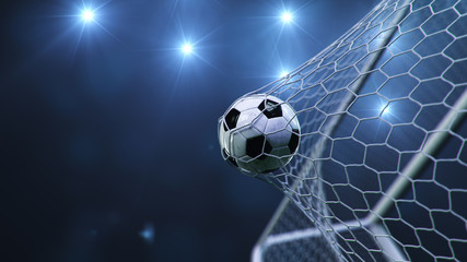Soccer ball flew into the goal. Soccer ball bends the net, against the background of flashes of light. Soccer ball in goal net on blue background. A moment of delight. 3D illustration
