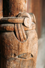 Borgund, Norway. Carved Details Of Famous Wooden Norwegian Landmark Stavkirke. Ancient Old Wooden Triple Nave Stave Church. Close View, Details