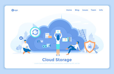 Cloud Storage. Online cloud computing, network hosting, services. People place their data, music, photo, video in big cloud server. landing web page design template decorated with people characters.