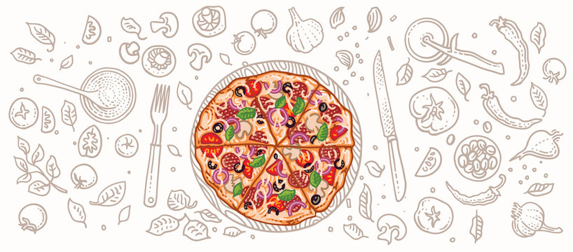 Pizza and pizza related elements illustration. Vector, isolated, layered.