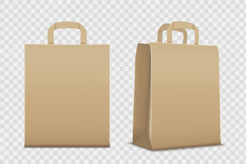 Paper empty shopping bag. Isolated on a transparent background