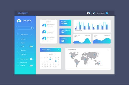 Gradient dashboard user panel template.Vector