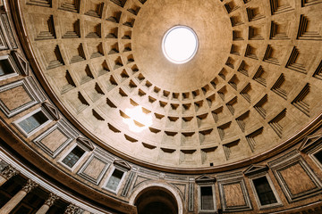 Rome, Italy. Close View Ceiling Inside Of Pantheon