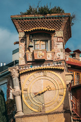 Tbilisi, Georgia. Close Up Details Of Famous Rezo Gabriadze Marionette Theater Clock Tower On Old City. Puppet Theater Museum In Tbilisi, Georgia, Caucasus, Asia
