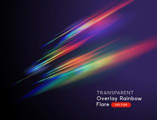 A transparent light leak camera rainbow streak effect. Vector illustration.