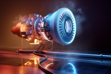 Futuristic jet engine technology background. Engineering and technology 3D illustration. Fotomurales