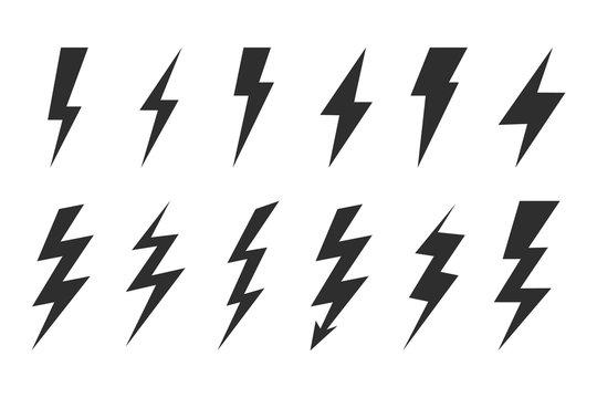 Thunder and bolt lighting elements. Flash icons set. Elestric blitz. Vector thunderbolt on white background