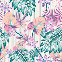 Winter tropical pattern seamless stripe background