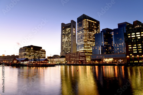 Sticker Night view of winter Boston. View of the river bay, bridges and night buildings. USA. Boston. Massachusetts.