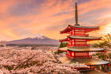 Fujiyoshida, Japan at Chureito Pagoda and Mt. Fuji in the spring