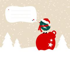 Wall Mural - Dunkelgrüner Vogel Auf Kugel Im Schnee Sprechblase Beige